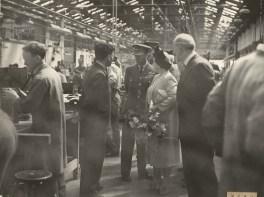 Fig 51 Photo 63 George VI visit 19:7:44 Inside workshop EU Mr Bettts Foreman & Air Commodore Gregory