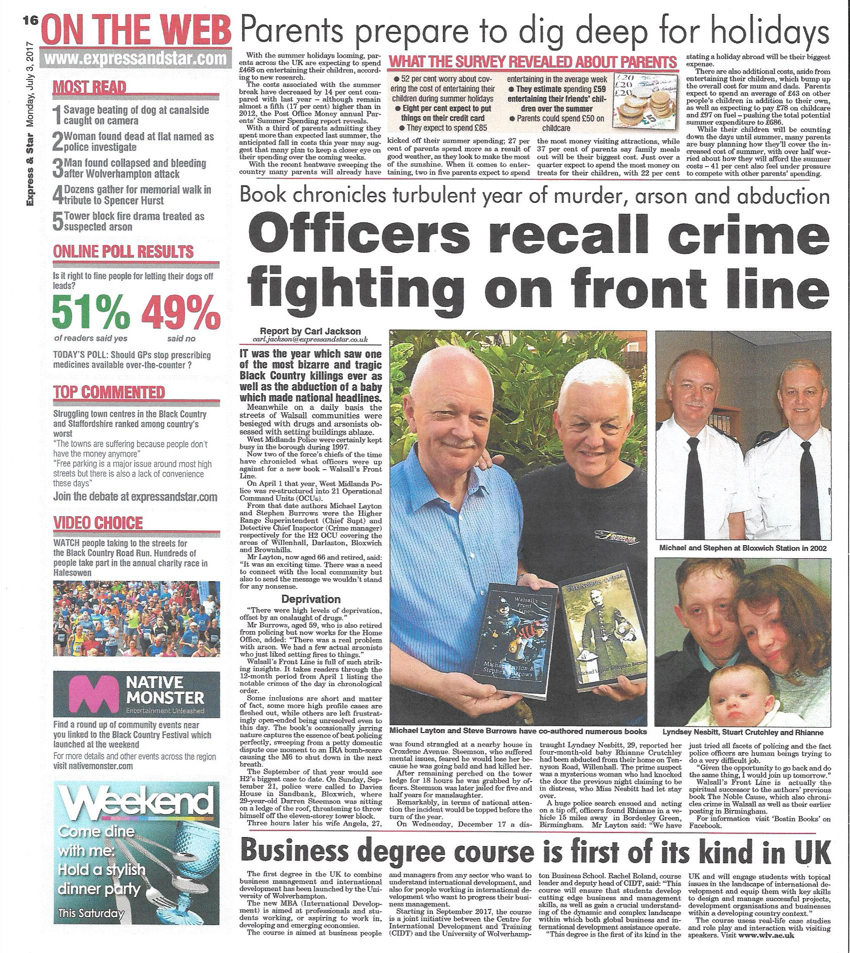 walsalls front line – express & star july 17 -volume one – 'BOSTIN
