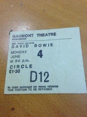 Bowie ticket Worc June 73